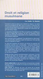Droit et religion musulmane - 1ere ed. (1re édition) - 4ème de couverture - Format classique