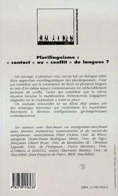 Plurilinguisme : Contact Ou Conflit De Langues ? - 4ème de couverture - Format classique