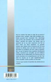 Les Cahiers Arts Et Sciences De L'Art N.1 ; Les Sciences De L'Art En Questions - 4ème de couverture - Format classique