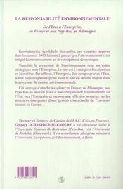 La Responsabilite Environnementale ; De L'Etat A L'Entreprise, En France Et Aux Pays-Bas, En Allemagne - 4ème de couverture - Format classique