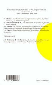 Revue Politique Europeenne T.2 ; Construction Européenne Et Politiques Sociales - 4ème de couverture - Format classique