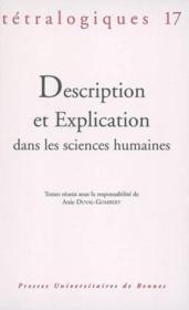 Description et explication dans les sciences humaines - Couverture - Format classique