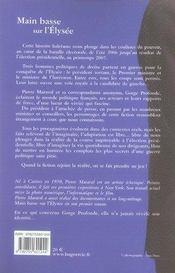 Main Basse Sur L'Elysee. Fiction - 4ème de couverture - Format classique
