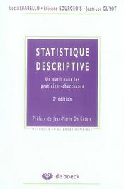 Statistiques descriptives ; un outil pour les praticiens-chercheurs (2e édition) - Intérieur - Format classique