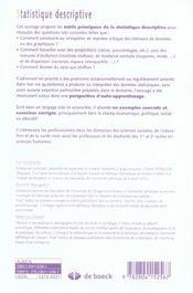 Statistiques descriptives ; un outil pour les praticiens-chercheurs (2e édition) - 4ème de couverture - Format classique