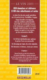 Le vin 2003 ; le guide gault-millau - 4ème de couverture - Format classique