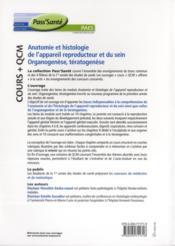 Anatomie et histologie de l'appareil reproducteur et du rein ; organogenèse, tératogenèse ; cours + QCM - 4ème de couverture - Format classique