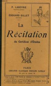 La Recitation Du Certificat D'Etudes - Couverture - Format classique
