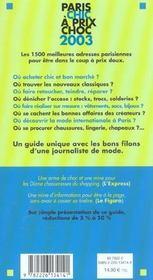 Paris chic à prix choc 2003. la mode, homme, femme, enfant - 4ème de couverture - Format classique