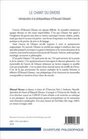 Le chant du divers ; introduction à la philopoétique d'Edouard Glissant - 4ème de couverture - Format classique