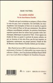 La sainte réalité ; vie de Jean-Siméon Chardin - 4ème de couverture - Format classique
