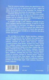 Sujets, activités, environnements ; approches transverses - 4ème de couverture - Format classique