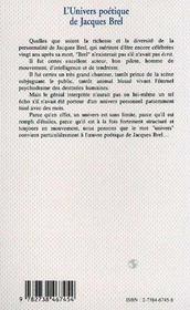 L'Univers Poetique De Jacques Brel - 4ème de couverture - Format classique