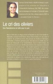 Le cri des oliviers - 4ème de couverture - Format classique