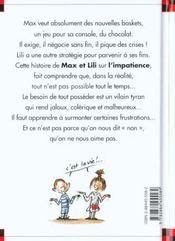 Max et Lili veulent tout tout de suite ! - 4ème de couverture - Format classique