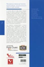 Révolutions et droits de l'homme ; aspects politiques : le cas des révolutions arabes et moyen-orientales - 4ème de couverture - Format classique
