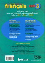 L'ATELIER DE FRANCAIS ; dire, lire, écrire ; cycle 3 ; manuel de l'élève - 4ème de couverture - Format classique