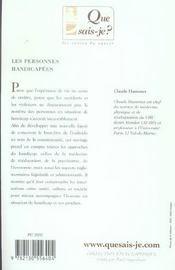 Les personnes handicapees 5eme edition qsj 2556 - 4ème de couverture - Format classique