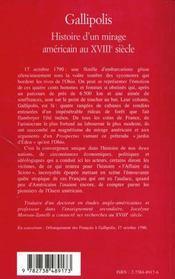Gallipolis ; Histoire D'Un Mirage Americain Au Xviii Siecle - 4ème de couverture - Format classique