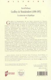 Geoffroy de montalembert 1898-1993. un aristocrate en republique - 4ème de couverture - Format classique