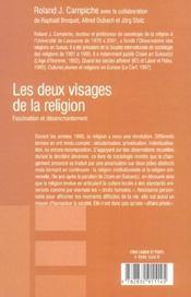 Les deux visages de la religion - 4ème de couverture - Format classique