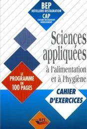 Sciences appliquées à l'alimentation et à l'hygiène ; cahier d'exercies - Couverture - Format classique