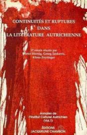 Continuites et ruptures dans la littérature autrichienne - Couverture - Format classique