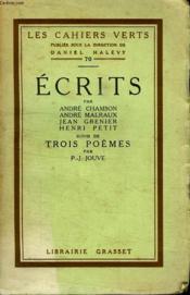Ecrits. Suivi De Trois Poemes Par P.J Jouve. - Couverture - Format classique