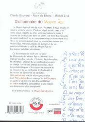 Dictionnaire du Moyen-âge - 4ème de couverture - Format classique