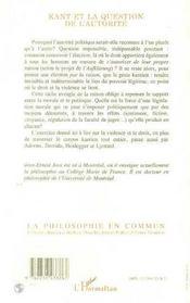 Kant Et La Question De L'Autorite - 4ème de couverture - Format classique