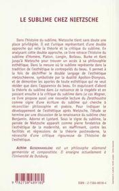 Le Sublime Chez Nietzsche - 4ème de couverture - Format classique