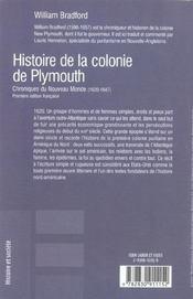 Histoire de la colonie de plymouth - 4ème de couverture - Format classique