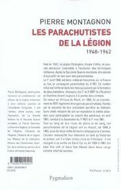 Les parachutistes de la légion 1948-1962 - 4ème de couverture - Format classique