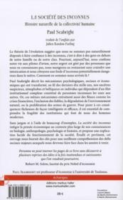 La societe des inconnus - histoire naturelle de la collectivite humaine - 4ème de couverture - Format classique