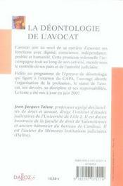 La Deontologie De L'Avocat - 5e Edition - 4ème de couverture - Format classique
