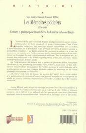 Memoires policiers 1750-1850. ecritures et pratiques policieres du siecle des lu - 4ème de couverture - Format classique