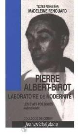 Pierre Albert-birot, laboratoire de modernité - Couverture - Format classique