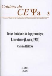 Textes fondateurs de la psychanalyse ; lituraterre (Lacan 1971) - Couverture - Format classique