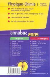 Annabac Sujets (édition 2005) - 4ème de couverture - Format classique
