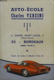 Auto-Ecole Charles Versini. - Couverture - Format classique