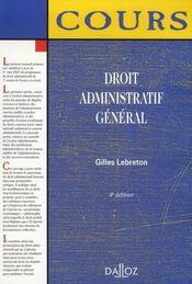 Droit Administratif General (4e Edition) - Intérieur - Format classique