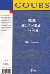 Droit Administratif General (4e Edition) - 4ème de couverture - Format classique