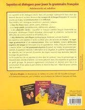 Saynetes Et Dialogues Pour Jouer La Grammaire Francaise - 4ème de couverture - Format classique