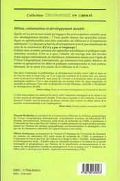 Milieu Colonisation Et Developpement Durable ; Perspectives Geographiques Sur L'Amenagement - 4ème de couverture - Format classique