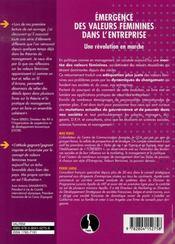 Émergence des valeurs féminines dans l'entreprise ; une révolution en marche - 4ème de couverture - Format classique