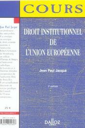 Droit Institutionnel De L'Union Europeenne - 4ème de couverture - Format classique