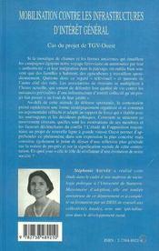 Mobilisation Contre Les Infrastructures D'Interet General ; Cas Du Projet De Tgv-Ouest - 4ème de couverture - Format classique