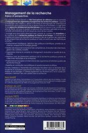 Management de la recherche ; enjeux et perspectives - 4ème de couverture - Format classique