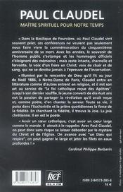Paul claudel, maitre spirituel et theologien - 4ème de couverture - Format classique