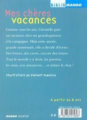 Mes Cheres Vacances - 4ème de couverture - Format classique